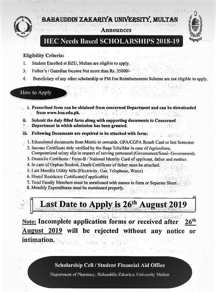 HEC needs Based Scholarship (26-08-19)