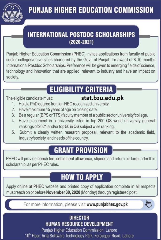 PHEC PostDoc Scholarship